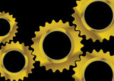 Modern black industrial background image with golden cogs poster