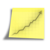 arrow graph going up on a yellow memo poster
