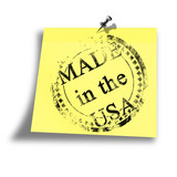 yellow made in the USA memo on a white background poster