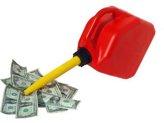 Red gas can pouring into money