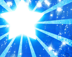 abstract rays with a star on a blue background