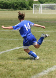 Youth Teen Soccer Player Ready to Kick Ball poster