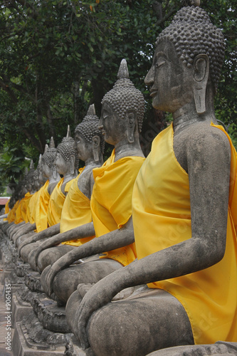 Buddha Group sitting in a row