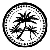 Postal stamp with palm trees surrounded by stars poster