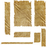 collection of wrinkled brown paper on a white background poster