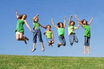 group of childrend jumping