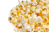 Salty popcorn in plate with copy space poster