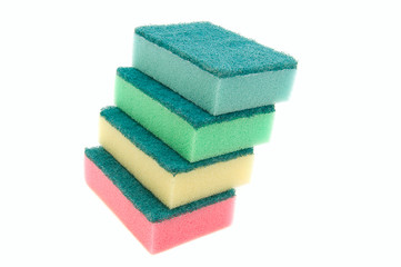 Multicolored cleaning sponges isolated on white background