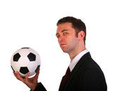 Businessman in side pose holding traditional colored soccer ball poster