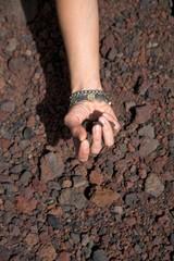 hand pick up stones