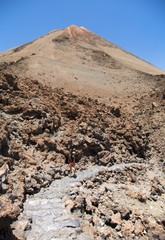 walking down the volcano