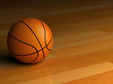 3D render of a basketball sitting on the hardwood - 9071470