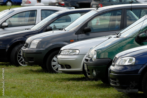 Cars parked on the green grass