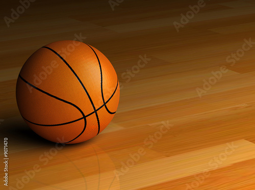 3D render of a basketball sitting on the hardwood