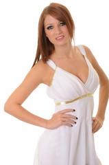 Brunette girl dressed like a Greek Goddess