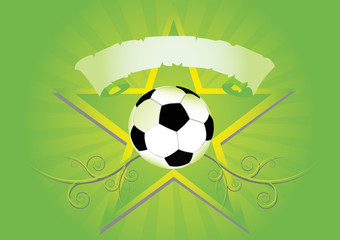 abstract soccer ball with star and spiral. Vector illustration