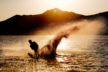 Silhouette of a water skier