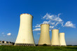 Cooling-towers of coal power-plant and blue sky