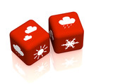 Two cubes with symbols of weather forecast poster