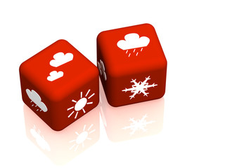 Two cubes with symbols of weather forecast