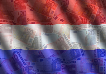 rippled Euros and Dutch flag background illustration