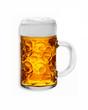 isolierter maßkrug mit bier und schaumkrone