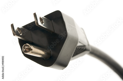 Electric Power Cable Isolated on a White Background