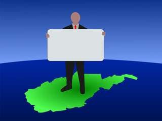 business man on map of West Virginia with blank sign