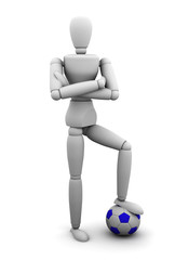 Quality render of a mannequin standing on a soccer ball