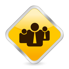 business people yellow square icon