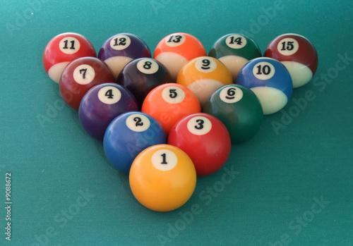 Staande foto 15 billiard balls on the green billiard table