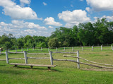 Empty corral of old ranch farm at spring day poster