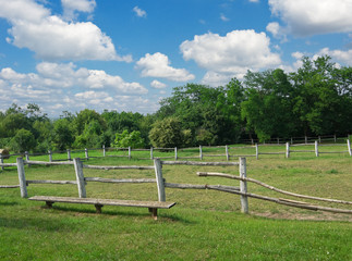 Empty corral of old ranch farm at spring day