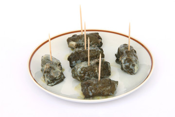 stuffed grape leafs with rice and meat greek food dolmadakia