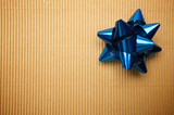 Corrugated Gift Box with a Blue Bow. poster