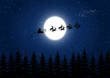 Fototapety Santa Claus flying in the Christmas night