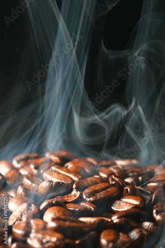 macro coffee beans in aroma smoke