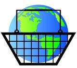 earth or globe inside shopping basket - world commerce poster
