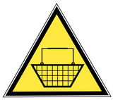 yellow triangular sign with a shopping basket poster