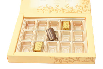 box with chocolate sweetmeatþ isolated