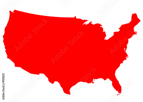 USA Map red