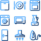 Home appliances icons, blue contour series
