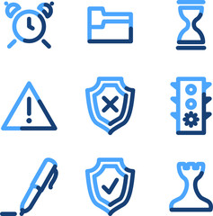 Administration icons, blue contour series