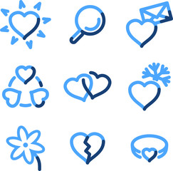 Love icons, blue contour series