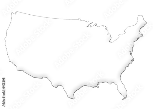 USA Map 3d  white