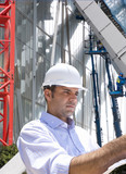 Businessman inspecting construction site