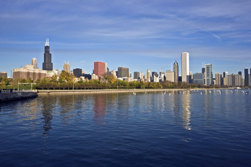 Downtown Chicago panorama reflected in Lake Michigan