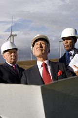 Businessmen inspecting wind power plant