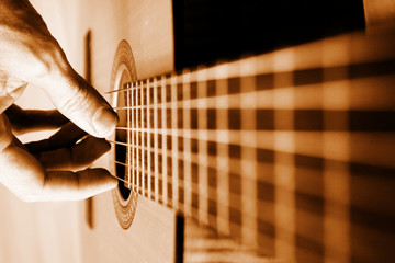 acoustic guitar closeup with strings