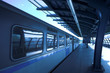 Blue train at subway hall platform